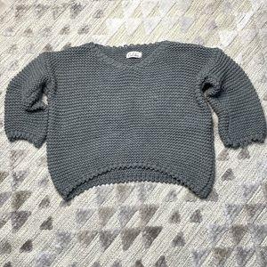 🌻2 For $20🌻 Crop Knit V-Neck Grey Sweater